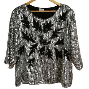 Vintage Silver Sequins Silk Disco Top, size Large